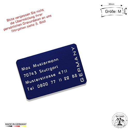 Raftsman Drohnenkennzeichen/Drohnen Kennzeichnung/Kennzeichen/Fluggerätekennzeichnung/Modellflugschild/Drohnenschild inkl. individueller CNC Gravur und doppelseitigem Klebeband (Al-3020-blau)