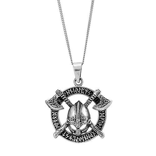 81stgeneration de Mujer Hombre Plata de Ley .925 Collar Colgante Hacha Casco Vikingo Nórdico, 46 cm