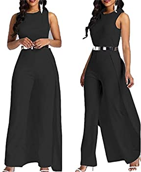 MAGICMK Women Sleeveless High Waist Outfit Overlay Elegant Wide Leg Long Jumpsuit Romper  Black m
