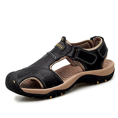 UJDKCF Sandalias al Aire Libre de Cuero Zapatos de Hombre Casual Verano Cómodo Sandalia Sandalias Sandalias Senderismo Chaussure Black 9.5