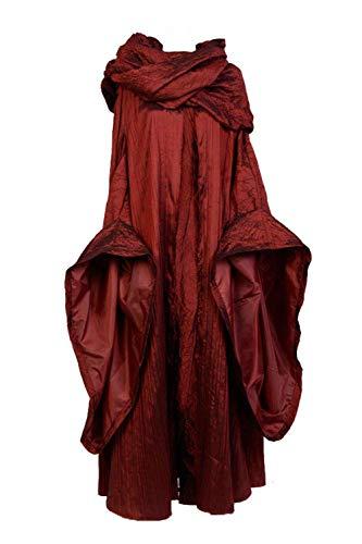 Disfraz de Melisandre para Mujer Halloween Traje de The Red Woman Vestido Medieval con Capa Bufanda, XXL