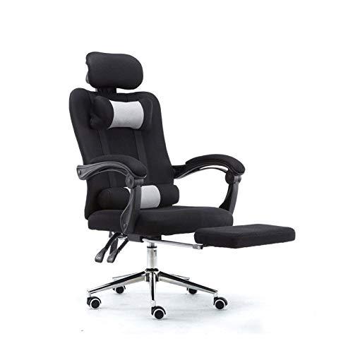 ZLHW Silla de oficina de escritorio de escritorio negro Silla reclinable Silla ejecutiva Silla giratoria Ajustable Juego Silla de carreras de reposapiés (Color: Negro)