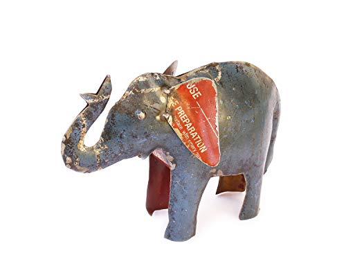 De Kulture funciona elefante Showpiece, Estatua, figura decorativa | figura de hierro reciclado | hecho a mano Curio | respetuoso con el medio ambiente Escultura | 10,6 * 3 * 7 LWH (pulgadas)