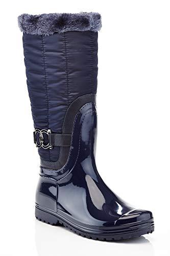 Henry Ferrera Women's Connection-100 Fur Lined Tall Snow Rain Winter Boot, Navy, 5 US