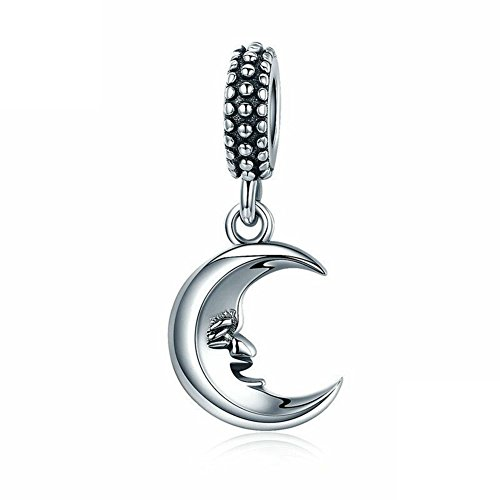 925 Sterling Silver Dangling Moon Charm for Pandora Charms Bracelet & Necklace