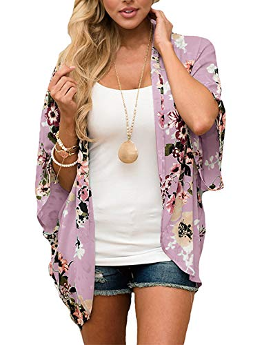 Women's Casual Floral Kimono Jacket Summer Cardigan Shawl Blouse Top Large (Purple, Large)