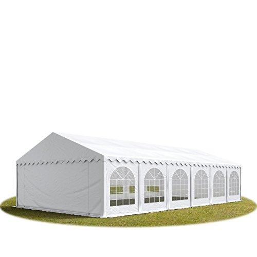 TOOLPORT Festzelt Partyzelt 5x12 m Premium, hochwertige ca. 500g/m² PVC Plane in weiß 100% wasserdicht mit Bodenrahmen
