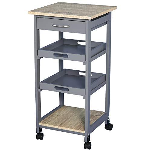 Chariot de service desserte de cuisine à roulettes 2 plateaux amovibles, tiroir, étagère MDF chêne clair bois pin gris