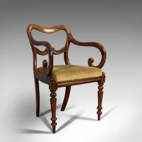 Silla de brazo de desplazamiento antiguo, inglés, caoba, respaldo con hebilla, asiento, William IV,