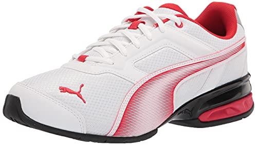PUMA Men's Tazon 7 Running Shoe, White-High Risk Red, 8
