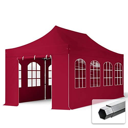 TOOLPORT Faltzelt Faltpavillon Professional 3x6 m mit 4 Seitenteilen - ALU Pavillon Partyzelt in rot
