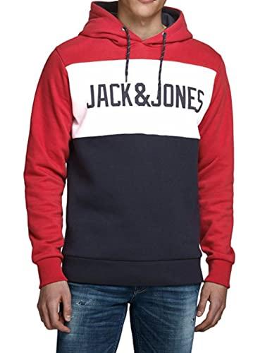 JACK & JONES JJELOGO Blocking Sweat Hood STS Sudadera con capucha, Rojo (Tango Red), M para Hombre