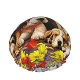 Gorro de ducha de doble capa impermeable, gorros de ducha de jardín de flores de perros lindos animales para mujeres,