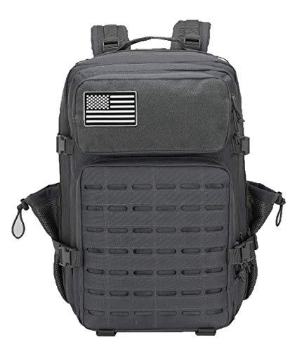 ELITEX Mochila 45L 2021 Táctica Militar Bandera USA Impermeable para Crossfit Caza Aire Libre Deportes Gimnasio Portatil Oxford 900D (Gris)