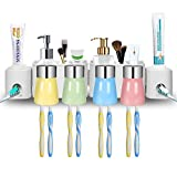 E-ROOM TREND Toothbrush Holder Wall Mounted with 2 Adhesives Pads, Automatic Toothpaste Dispenser Space Saving for Home Dormitory Bathroom Organizer Use (4 Cups)
