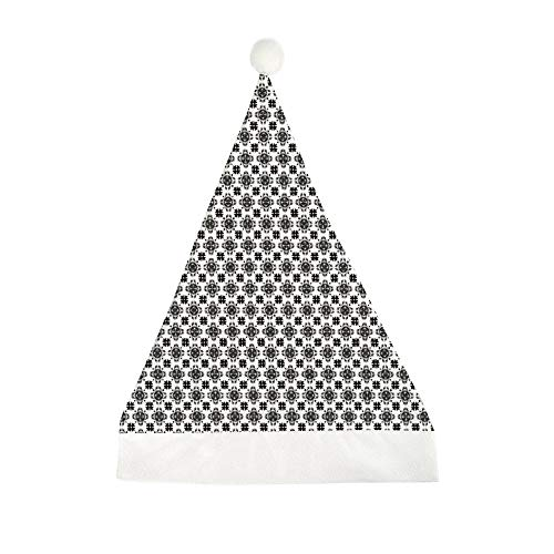 Mesllings Tegel Zwart en Wit Naadloos Patroon Gedrukt Kerstmis Grappige Feesthoed Vakantie Hoeden Santa Hat Geschenken voor Unisex Volwassenen 50x35cm
