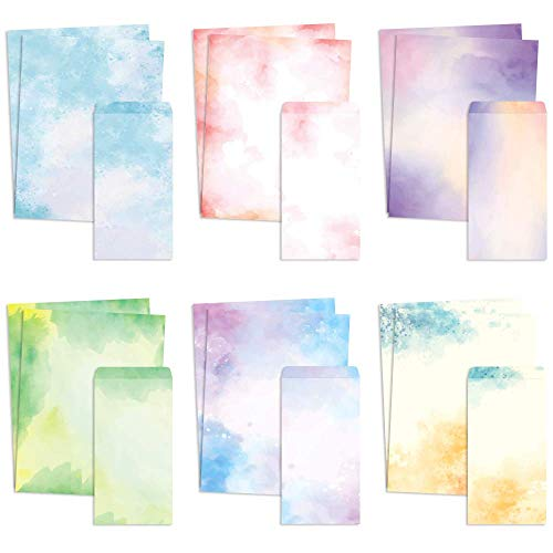 Stationary Paper and Envelopes Set of 48 Watercolor Letter Writing Paper, Decorative Printer Stationery Sheets with Assorted Designs - Double-sided Printing - 8.5 x 11 Inch