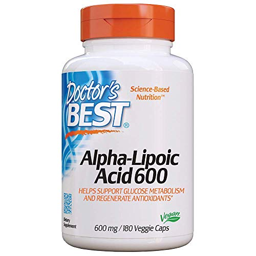 Doctor's Best Alpha-Lipoic Acid (Alpha-Liponsäure) 180 vegane Kapseln, glutenfrei, sojafrei, 600mg