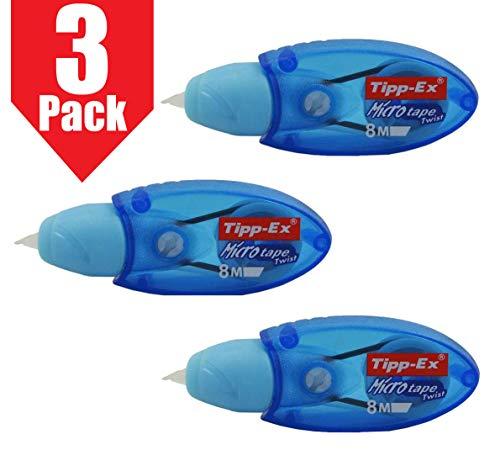 Nastro per correzioni Tipp-Ex Micro Tape Twist per una riscrittura istantanea, colore del corpo blu, in confezione da 3