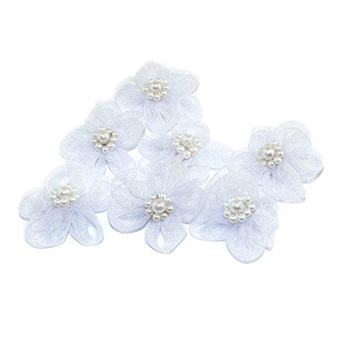 HAND H0631 Cinq Pétales Dix Perles Organza Fleur Coudre Galons, embellissements avec les centres de perles Taille 35 mm Lot de 10 Blanc