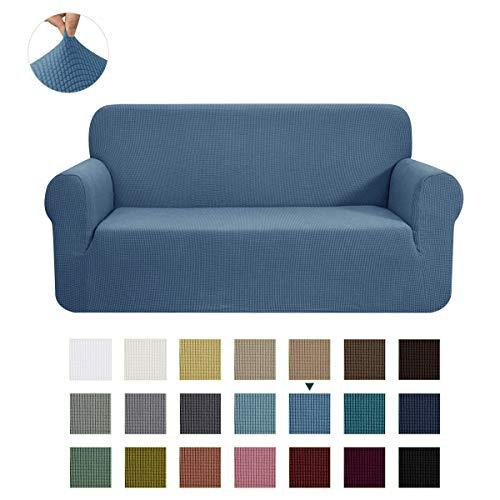 CHUN YI Stretch Loveseat Sofa Slipcover 1-Piece Couch Cover Furniture Protector, 2 Seater Coat Soft with Elastic Bottom, Checks Spandex Jacquard Fabric, Medium, Denim Blue
