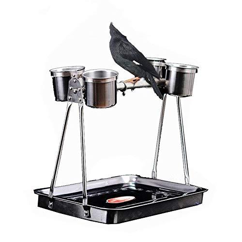 Cama para mascotas, soporte para pájaros, juego de entrenamiento de pájaros, se ajusta en la mesa para jugar con el anfitrión mascota cama perro 29x24X27cm plata