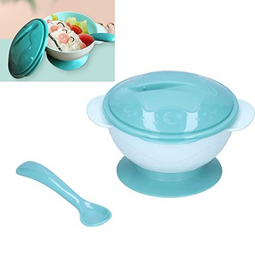 Cuenco de succión de alimentación para niños pequeños, cuencos para bebés, cuenco de succión verde para bebés, cuenco para niños pequeños con cuchara con tapa para bebé, para el hogar, para(green)