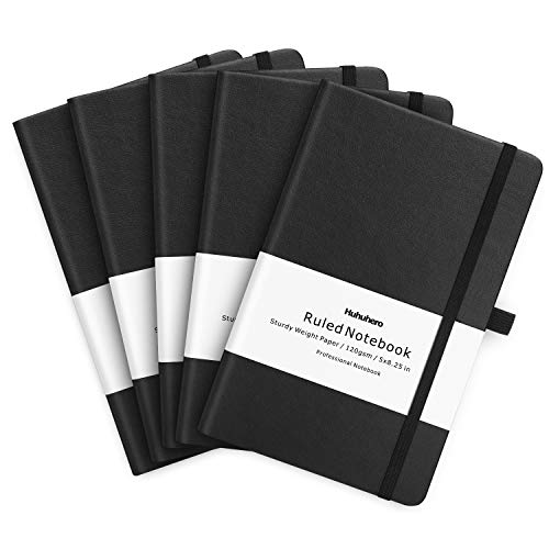 """Huhuhero 5 Pack Notebooks Journals, Classic Ruled Notebook, 120Gsm Premium Thick Paper Lined Journal, Black Hardcover Notebook for Office Home School Business Writing Note Taking Journaling, 5""""×8.25"""""""