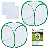Pllieay 2 Pieces 12 Inch Tall Butterfly Habitat Cage with Instructions and Clear PVC Film, Collapsible Light-transmitting Terrarium White Insect and Butterfly Net for Kids Raising Insects