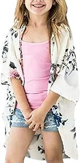 Youxiua Girls Boho Floral Kimono Cardigan Summer Loose Casual 3/4 Sleeve Cover Up Blouses