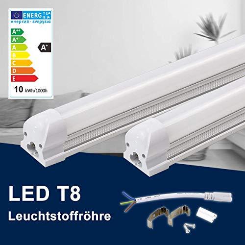 120CM LED Leuchtstoffröhre komplett-Set, Leuchtstofflampe 18W 4000K Naturweiß 1700 Lumen 36Watt-Ersatz, Deckenleuchte Unterbauleuchte Schranklicht, Montagefertig, Aufklebar, milchig