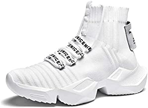 Mens Running Shoes High Top Sneakers Stylish Blade Tennis Walking Casual Shoes Athletic Gym Shoes White Size 10