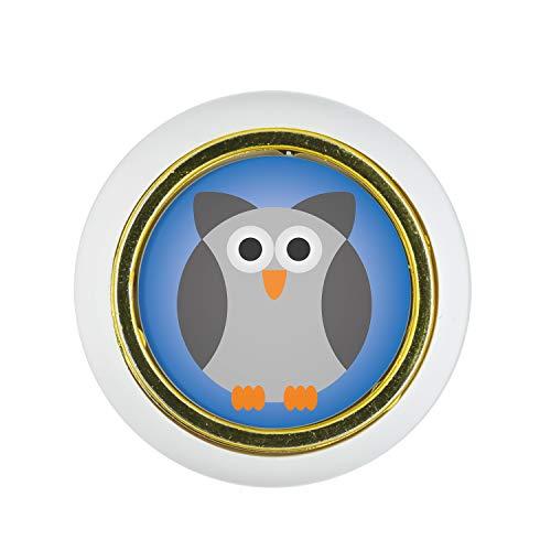 Möbelknopf Kunststoff Klein & Elegant KST03333W Weiss Tier Cartoon Lustig Eule Motiv - Kleine Universal Möbelknöpfe für Schrank, Schublade, Kommode, Tür, Küche, Bad, Haushalt Kinder Kinderzimmer