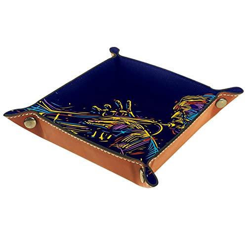 Bandeja de dados de metal para juegos de rol, DND y otros juegos de mesa, caja de almacenamiento de soporte de dados, tabla de protección, doble cara plegable Sqaure PU cuero viejo trompeta