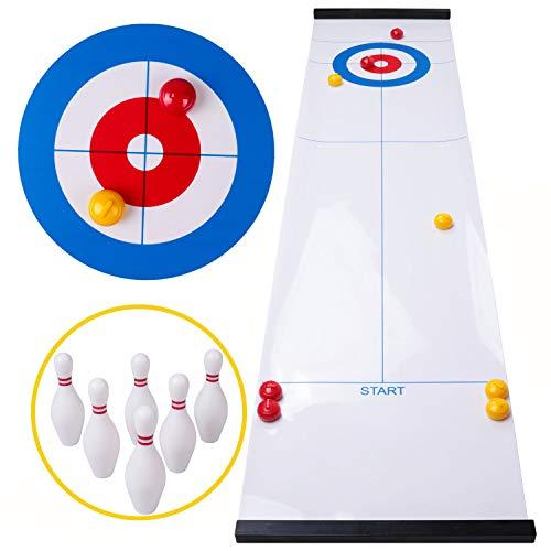 Rolimate curling game tafelblad shuffleboard familiespellen voor kinderen en volwassenen, bordspellen tafelspel met 8 rollers 6 bowling, Montessori reisspel verjaardagscadeautjes voor 3 4 5+ jaar