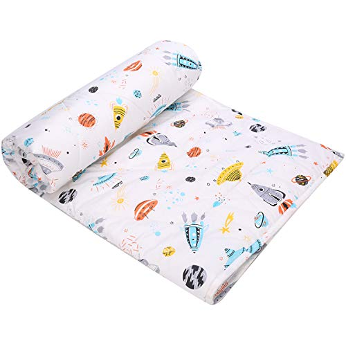 UOMNY Kids Toddler Blanket - Soft Cot Nursery Comforter Quilts for Boys and Girls 36x48 Inch Cotton 1 Pack kids'crib Blankets Nursery Blanket Weight (Spaceship Nap Blanket White)