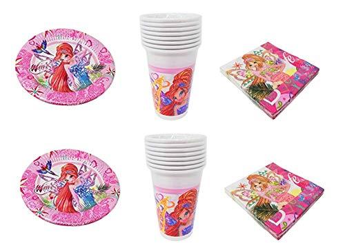 Party Store web by casa dolce casa Winx Club - Kit n° 10 CDC-(40 Assiettes, 40 Verres, 40 Serviettes)