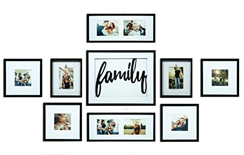 GALLERY PERFECT 9 Piece Black Wood Family Photo Frame Wall Gallery Kit