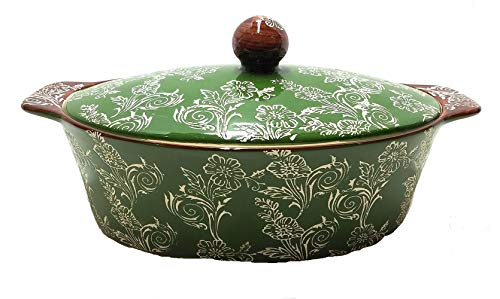Ceramic Covered Casserole Dish Oven to Table 2.5 Quart Etched Design on Green