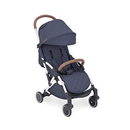 Ickle Bubba Globe Stroller   Ultra-Compact Travel Pushchair   from Birth to 3 Years   UPF 50 Hood, Rain Cover   Denim Blue on Silver Frame