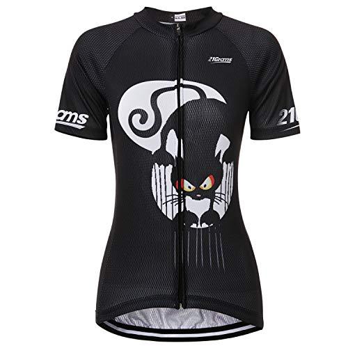 Waya - Maglia da ciclismo a maniche corte con gatto animale, per donna, abbigliamento bicicletta MTB traspirante, asciugatura rapida, sport (M)
