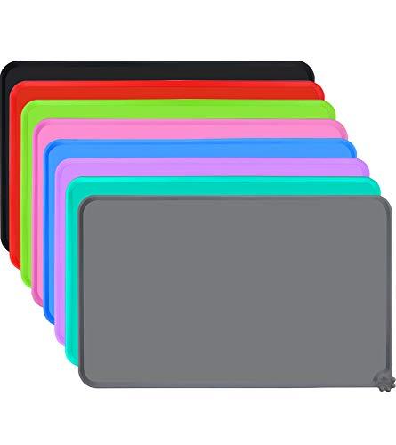 Joytale Silicone Tappetino Antiscivolo per Ciotola Cane, Impermeabile Tappetino per Gatti sotto Ciotola, Mantenere Pulito Il Pavimento,47×30cm, Grigio