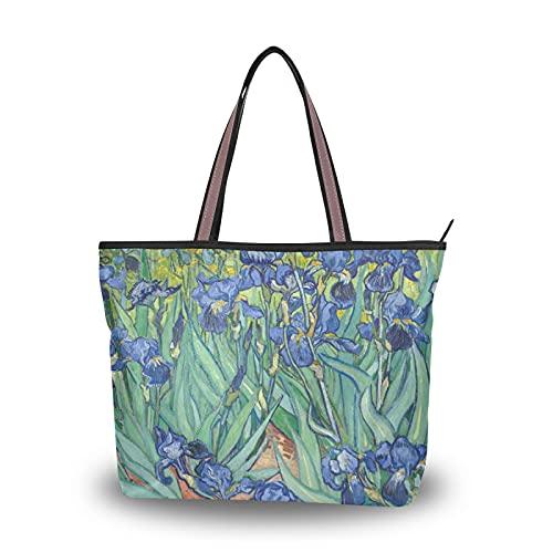 NaiiaN Bolso de mano para compras, bolso de hombro con flores de orquídea y mariposa Van Gogh, bolsos de hombro para madres, mujeres, niñas, estudiantes, bolsos ligeros con correa