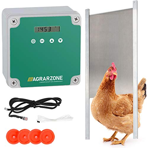 Agrarzone Porte de poulailler automatique | avec minuterie et capteur de lumière | fonctionne sur secteur ou sur piles | pour un élevage de poulets sécurisé (Avec trappe 30 x 40 cm)
