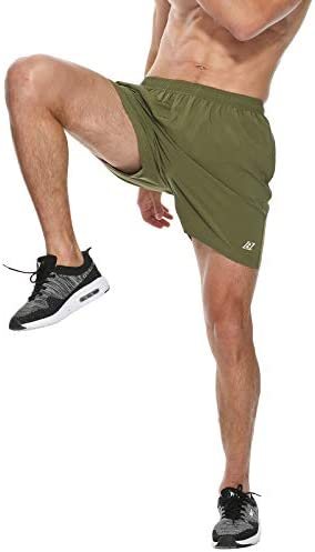 LABEYZON Men's 5 Inches Athletic Running Shorts Workout Sports Training Shorts with Back Zipper Pocket