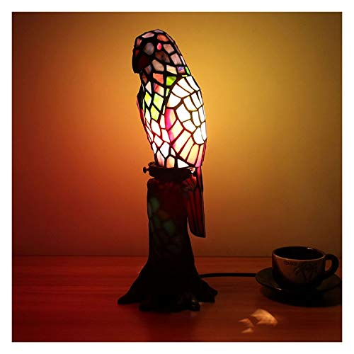 Stained Glass Table Lamp Creative Tiffany Table Lamp Stained Glass Parrot With Tree Stump Table Lamp Children's Lamp Night Light