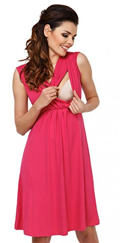 Zeta Ville - Premamá Vestido de Lactancia Efecto 2 en 1 Capa - para Mujer - 808c (Frambuesa, 44, 2XL)