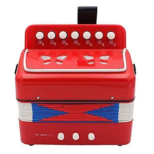 XTENG Kindern Akkordeon Musikinstrument Spielzeug, 7-Key 2 Bass-Kinderakkordeon, geeignet für das pädagogische Musikinstrument für Kinder, rot
