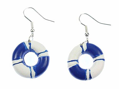 Miniblings Rettungsring Ohrringe Hänger Maritim Boot Schiff Meer Ring blau weiß - Handmade Modeschmuck I Ohrhänger Ohrschmuck versilbert