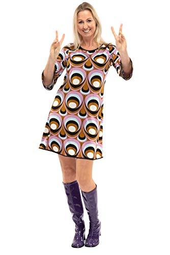 Original Replicas Sechziger Siebziger Jahre Hippie-Disco Soul Dance Psychedelic Eyes Kleid Frau L - XS bis 3XL